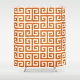 Orange and White Greek Key Shower Curtain