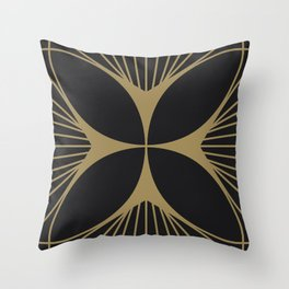 Diamond Series Floral Cross Gold on Charcoal Throw Pillow