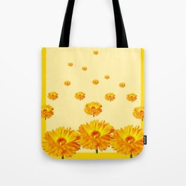 FLOATING GOLDEN FLOWERS YELLOW COLLAGE Tote Bag