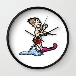 Happy WATER SKI Guy Summer Present Wall Clock