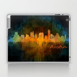 Austin Texas, City Skyline, watercolor  Cityscape Hq v4 Dark Laptop & iPad Skin