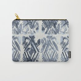 Simply Ikat Ink in Indigo Blue on Lunar Gray Carry-All Pouch