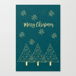 Merry Christmas Teal Gold Canvas Print