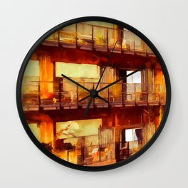 Living in old harbour stores Wall Clock