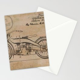 Original Motorcycle Drawing Sketch with Signatures Stationery Cards
