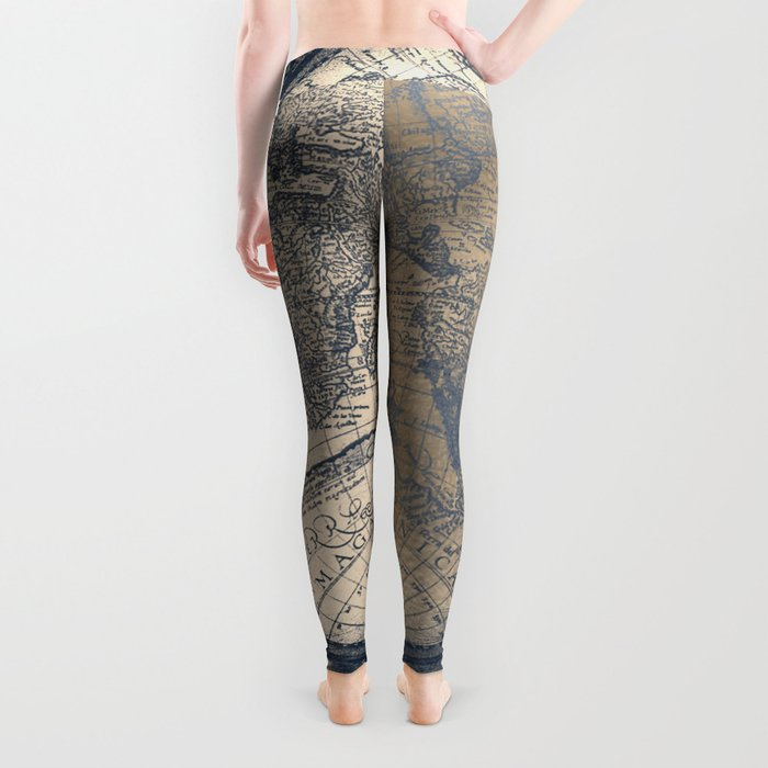 Antique World Map White Gold Navy Blue by Nature Magick Leggings