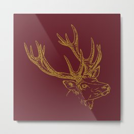 Deer Burgundy Gold Metal Print
