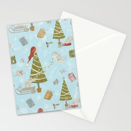 From Mice And Christmas - Cute teal X-Mas Pattern Stationery Cards