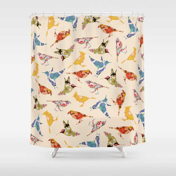 Vintage Wallpaper Birds Shower Curtain