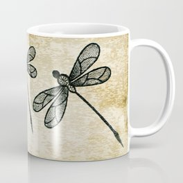 Dragonflies on tan texture Coffee Mug