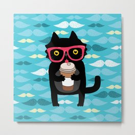 Black cat + coffee Metal Print