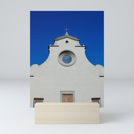 Church Santo Spirito, Florence | Architecture of Italy, Tuscany | Abstract art with blue sky art print Mini Art Print