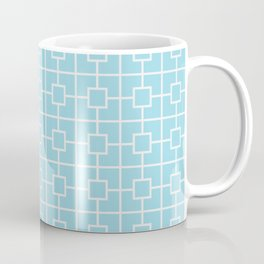 Electric Blue Square Chain Pattern Coffee Mug