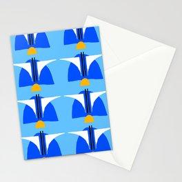 Mid-Century Modern Turquoise, Royal Blue & Mustard Geometric Pattern Stationery Cards
