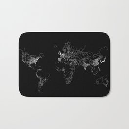 World map Lines Bath Mat