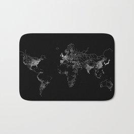 World map Lines Bath Mat