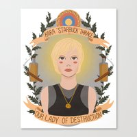 "karu kara Canvas Prints featuring Kara ""Starbuck"" Thrace by heymonster"