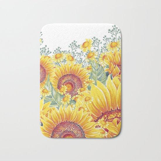 Vintage Garden 15 (Sunflower Field) Bath Mat