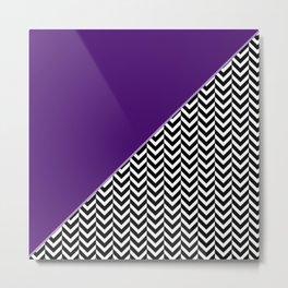 Chevron and Purple Print Metal Print