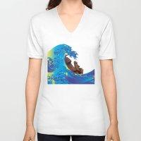hokusai V-neck T-shirts featuring Hokusai Rainbow & Moai by FACTORIE