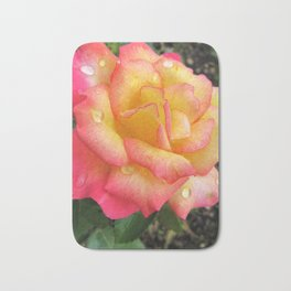 rose with rain drops Bath Mat