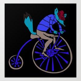 Fox on Bike Art Print