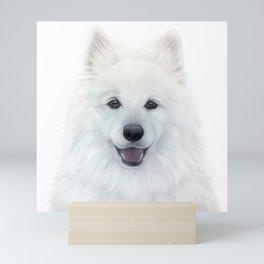 Samoyed dog, original painting by miart Mini Art Print