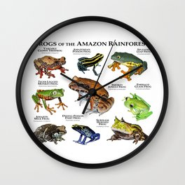 Frogs of the Amazon Rainforest Wall Clock