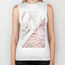Rose gold marble & tropical ferns Biker Tank