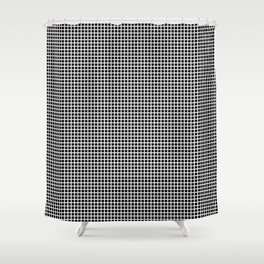 White On Black Grid Shower Curtain