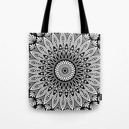 Sacred Lotus Black and White Mandala - LaurensColour Tote Bag