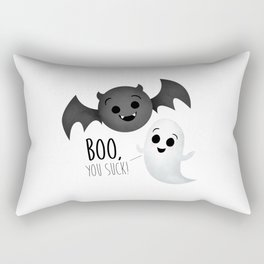 Boo, You Suck! (Ghost & Vampire Bat) Rectangular Pillow