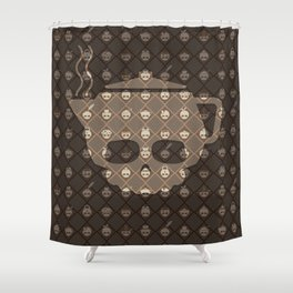 The Nik-Nak Bros. Coughy Break Deluxe Shower Curtain