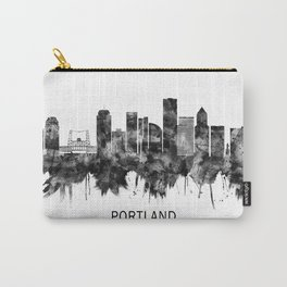 Portland Oregon Skyline BW Carry-All Pouch