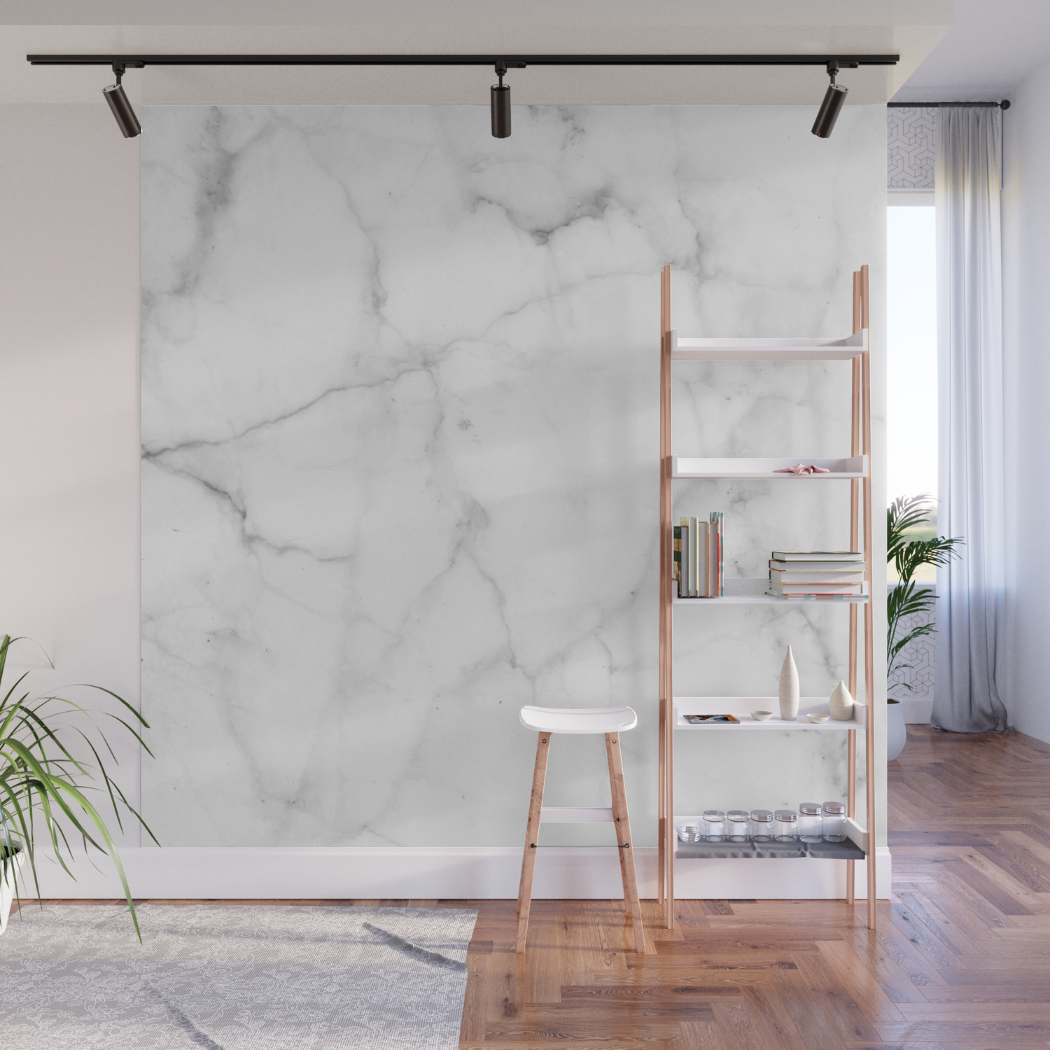 Pure Solid White Marble Stone All Over Wall Mural