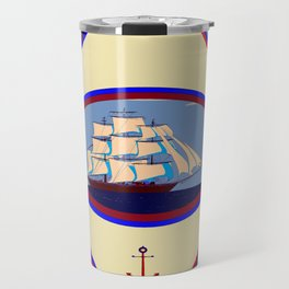 A Nautical Scene with Clipper Ship with Country Blue Background Travel Mug