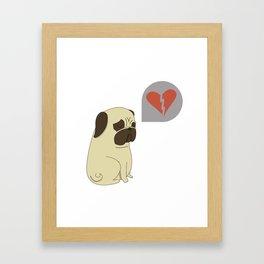 Broken hearted-pug Framed Art Print