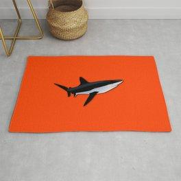 Bright Fluorescent Shark Attack Orange Neon Rug