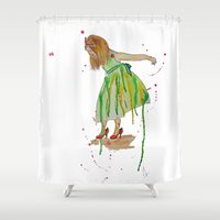 emma watson Shower Curtains featuring Emma by Laurie Art Gallery