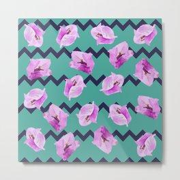 Floral Chevron Pattern Metal Print