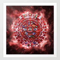 calender Art Prints featuring Aztec Calender by MacDonald Creative Studios