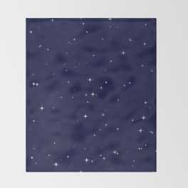 Modern navy blue white starry sky stars pattern Throw Blanket