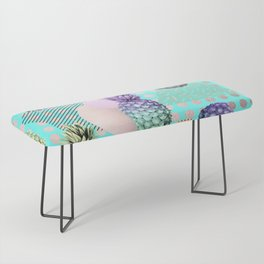 Pineapple Summer Rainbow Rose Gold Bench