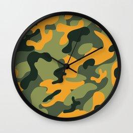 Green & Orange Camo Wall Clock