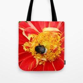 Bumble Bee On Dahlia Tote Bag