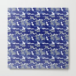 Bright Blue Camouflage Sparkle Camo Army Soldier  Metal Print