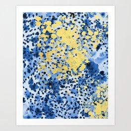 Nell - abstract gold indigo blue painting free spirit hipster boho college dorm modern minimalism  Art Print