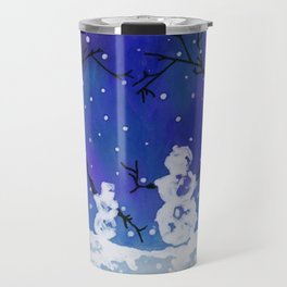 The Heart of Snowmen on a Winter Snowfall Day by annmariescreations Travel Mug