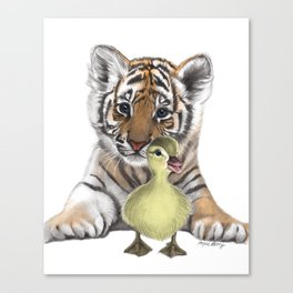 Tiger Cub and Duckling Canvas Print