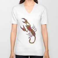 tatoo V-neck T-shirts featuring Tatoo Scorpion by PepperDsArt